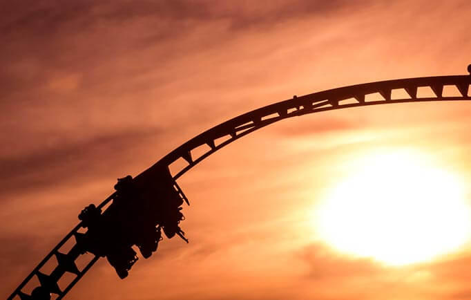 A rollercoaster during sunset