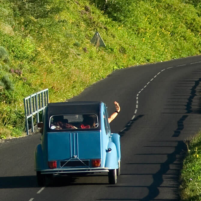 Citroen 2CV on country road