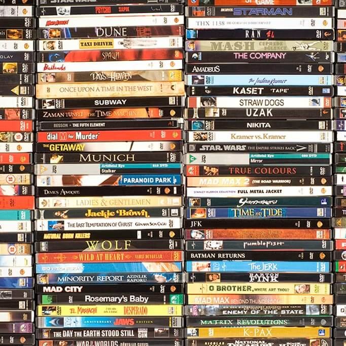 stacked dvd collection