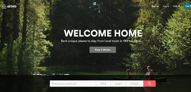 Screenshot of the Airbnb website