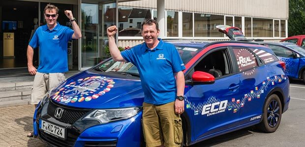 Fergal McGrath, his co-driver, and his Honda Civic Tourer