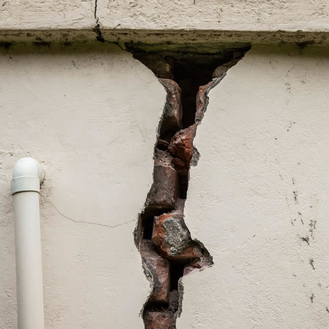 Crack in exterior wall