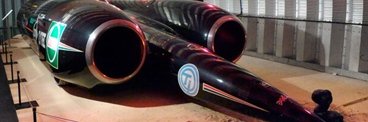 Thrustssc x car parked in hanger
