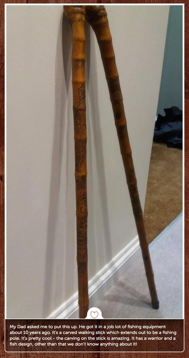 Walking stick fishing pole