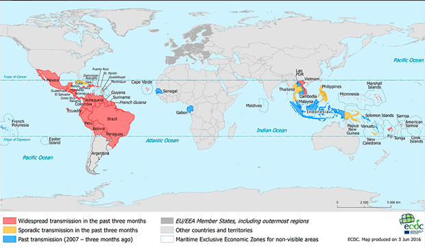 A map of countries currently affected by the Zika virus