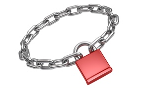 Chain locks with a red padlock
