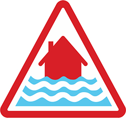 Red severe risk of flooding sign on white background