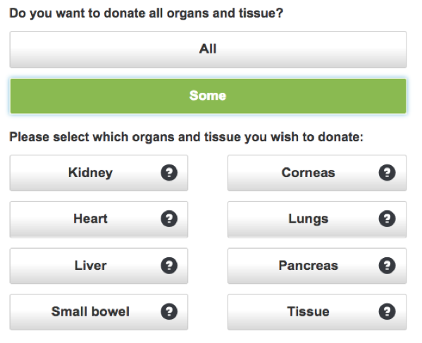 A graphic of organ donation options